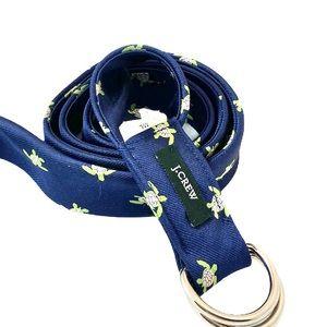 J. CREW Blue Silk Turtle 46 Inch Belt M/L